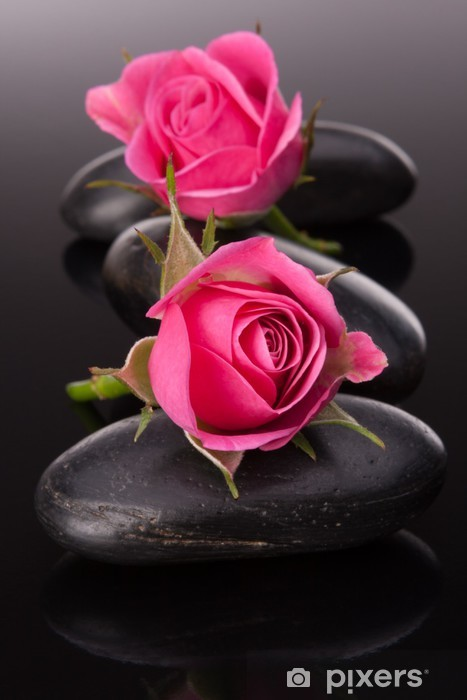 Spa stone and rose flowers still life. Healthcare concept. Pixerstick Sticker - Themes