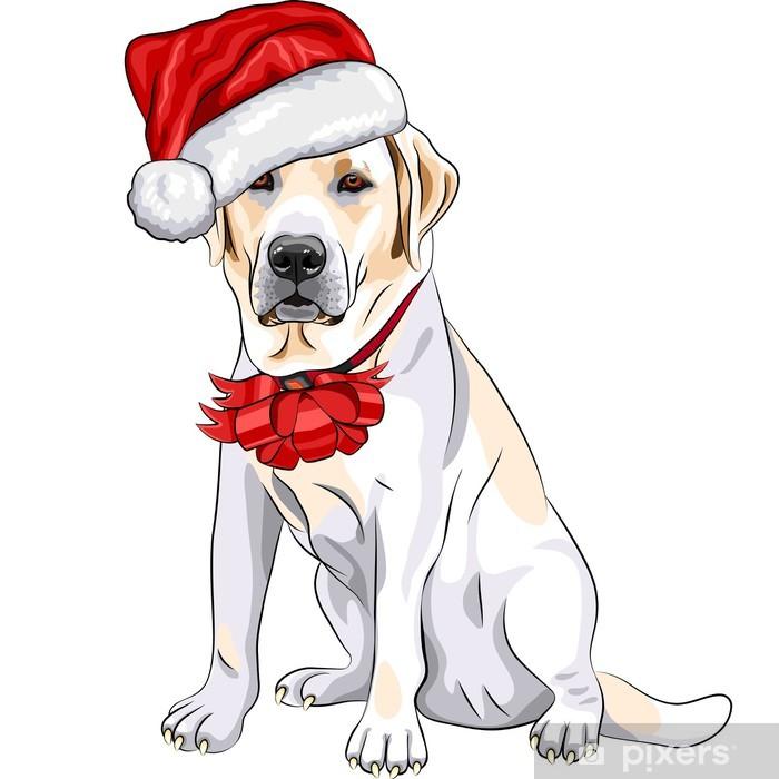 Plakat Labrador pies wektor w kapeluszu Santa Claus z Christmas łuk - Naklejki na ścianę