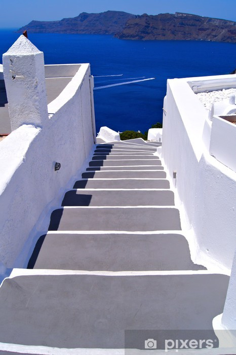Classic white staircase towards the sea at Santorini, Greece Pixerstick Sticker - Themes