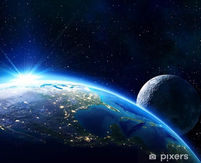 Naklejka Pixerstick Ziemia Usa, horyzont i księżyc - Wszechświat