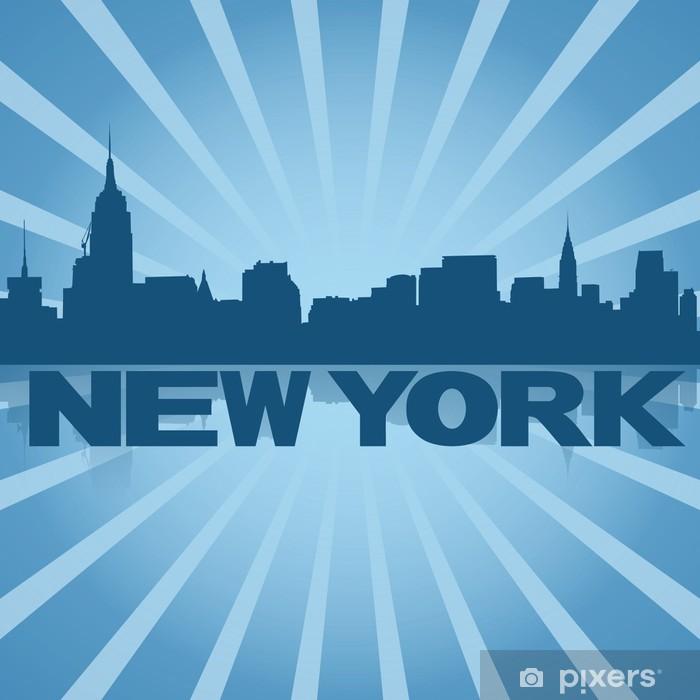 Plakat New York skyline odbicie rysunku z niebieskim Sunburst - Criteo
