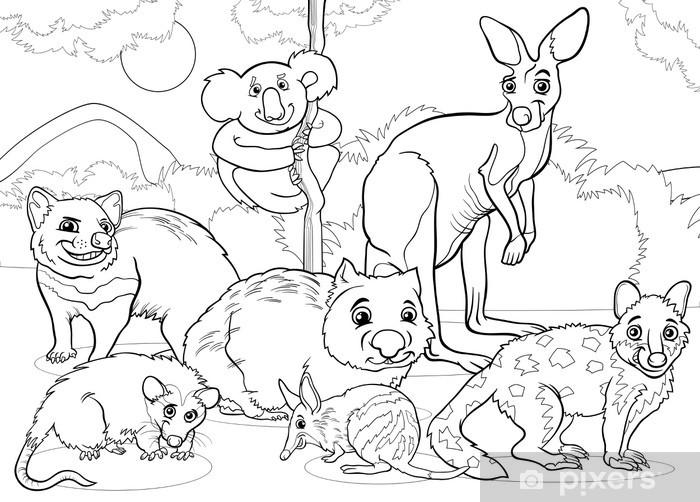 Vinilo Marsupiales Animales Para Colorear De Dibujos Animados Pixerstick