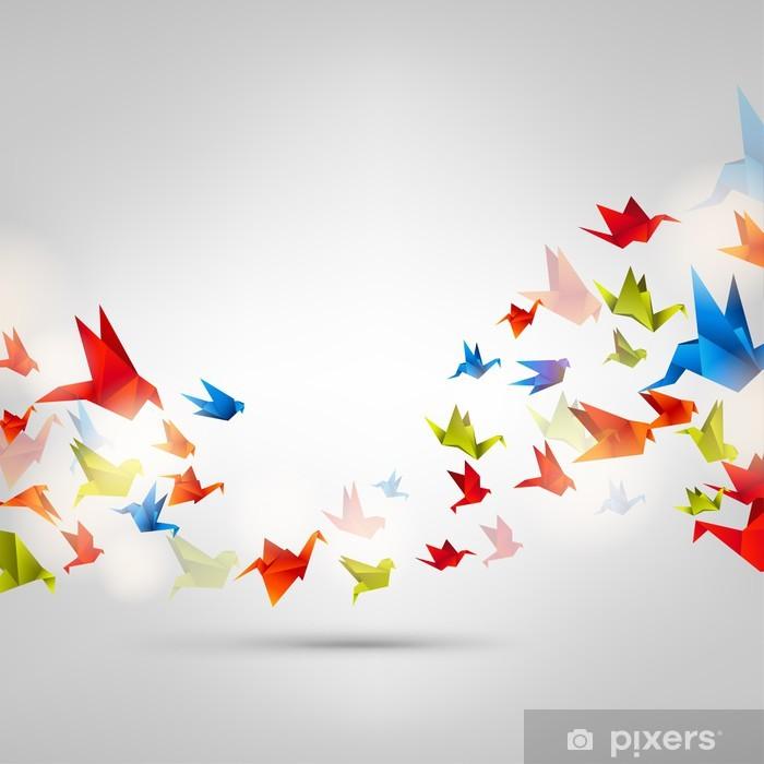 Sticker Pixerstick Origami oiseau de papier sur le fond abstrait - Situations