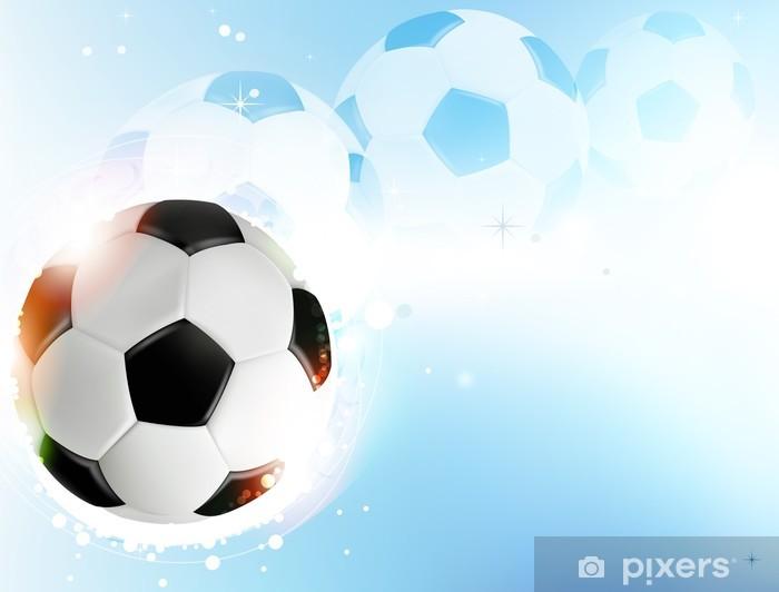 Adesivo Pallone Da Calcio Su Sfondo Blu Pixers Viviamo Per Il
