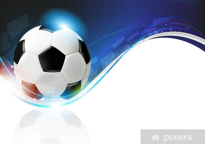 Fotomural Estándar Balón de fútbol sobre fondo azul ondulado - Fondos b2ae38a1681bc
