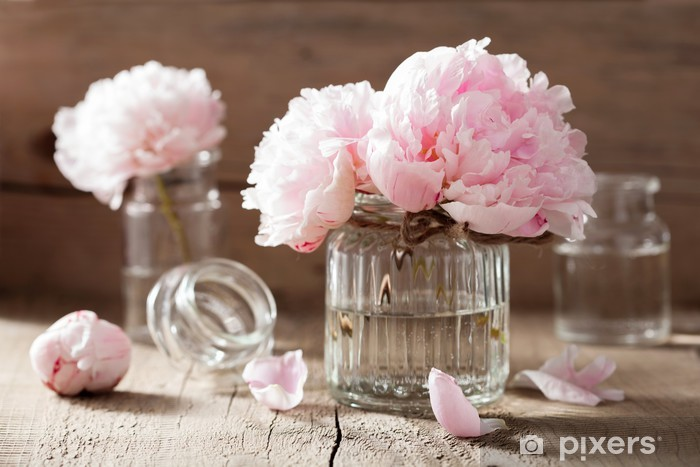 beautiful pink peony flowers bouquet in vase Vinyl Wall Mural - iStaging