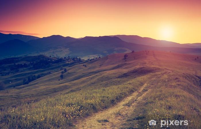 Carta da Parati in Vinile Retrò paesaggio montano - Stagioni