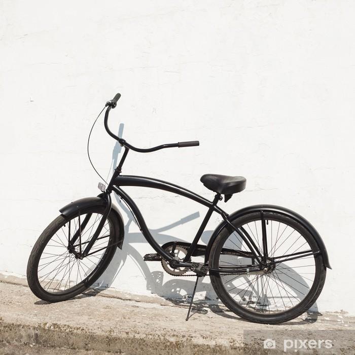 Aufkleber Schwarz Stadt Fahrrad Cruiser Stehend Von Nächste Weiße Wand Pixerstick