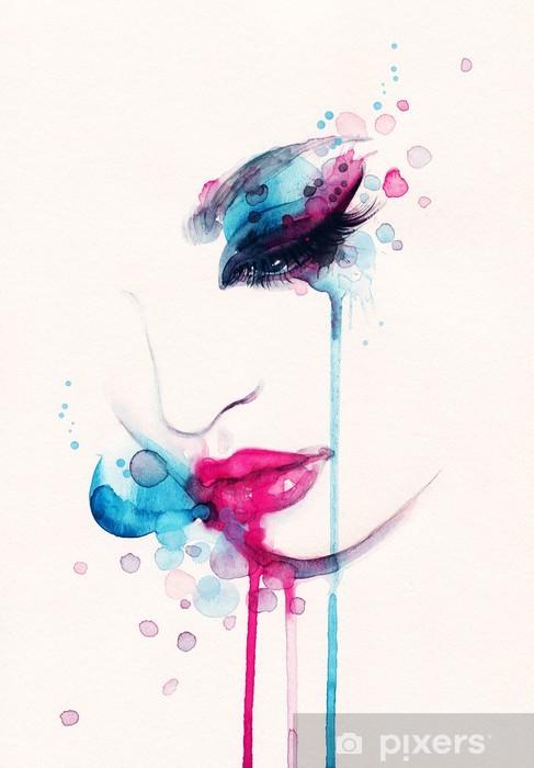 Kvinde portræt. abstrakt akvarel. mode baggrund Selvklæbende fototapet -