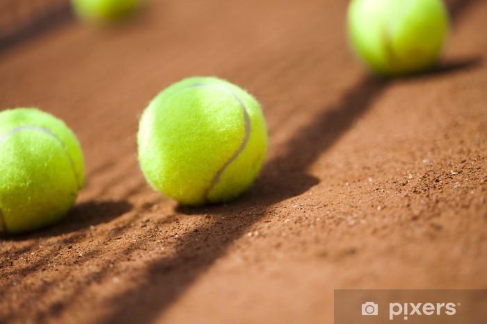 Tennis Ball on court Pixerstick Sticker - Tennis