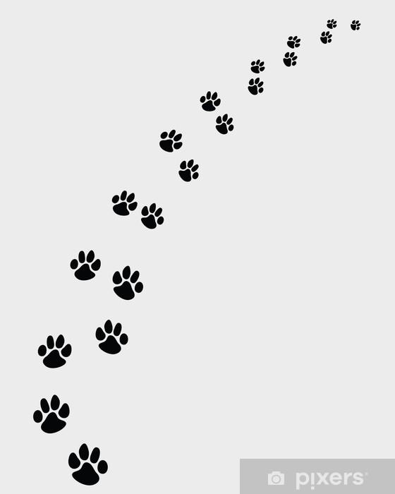 Naklejka Pixerstick Czarne ślady psów, skręcić w prawo-vector ilustracji - Style