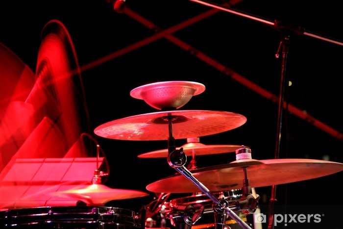 The drummer in action. A photo close up process play on a musica Pixerstick Sticker - Music