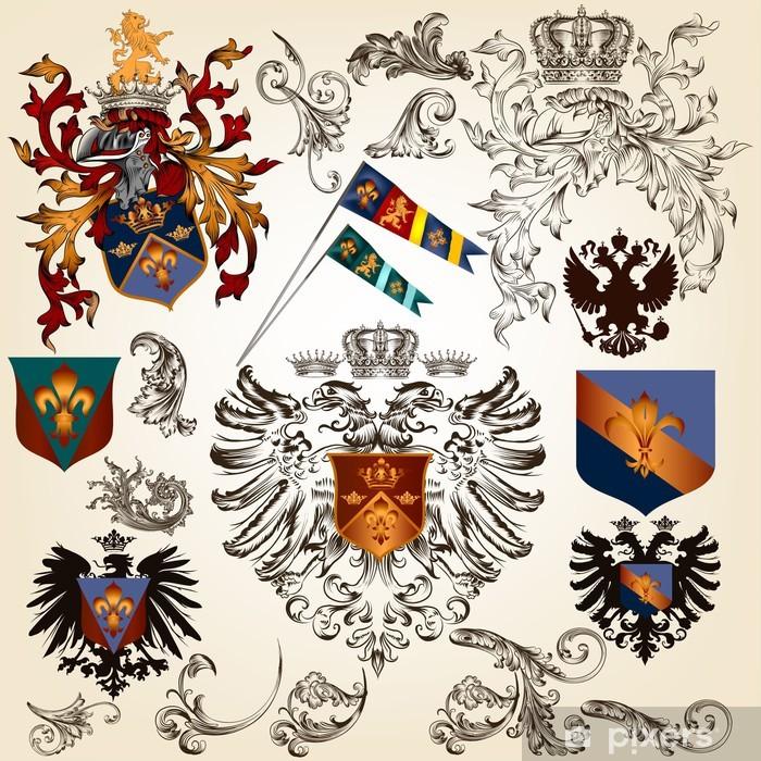 Vinylová fototapeta Kolekce vektorových heraldických prvků pro design - Vinylová fototapeta