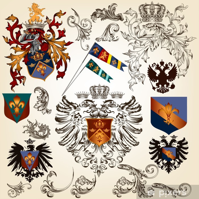 Collection of vector heraldic elements for design Vinyl Wall Mural - Signs and Symbols