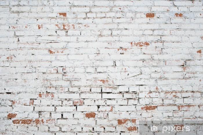 Naklejka Pixerstick Pęknięty białe cegły ściany grunge teksturę tła barwione stare - Tematy