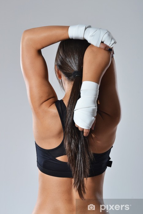fitness woman with white bandages, studio shot Pixerstick Sticker - Themes