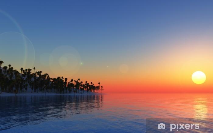 Fototapeta winylowa Tropikalny tło 3D - Palmy
