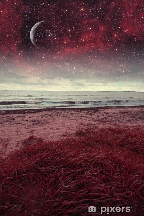 Naklejka Pixerstick Czerwony noc na morzu. Elementy tego zdjęcia dostarczone przez NASA - Tematy