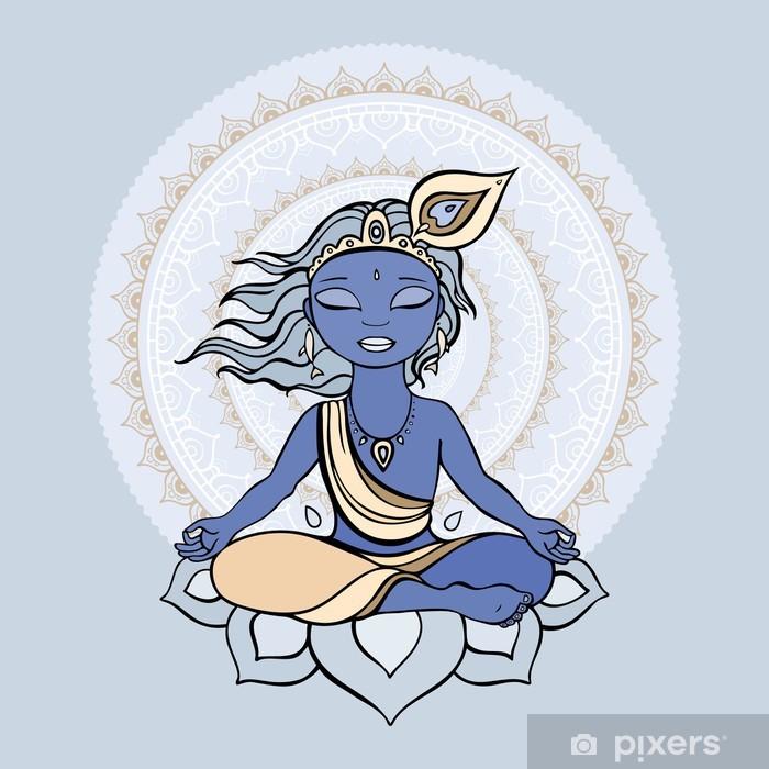Naklejka Pixerstick Hinduskiego boga Kryszny. - Dzieci