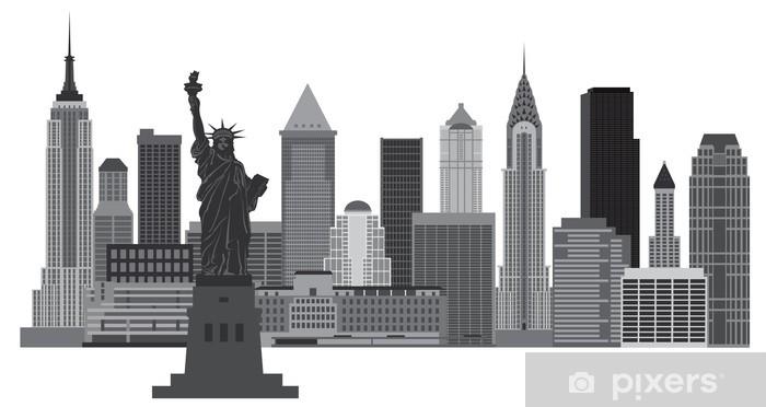 New York City Skyline Vector Illustration Wall Mural Pixers We