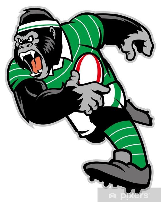 Papier peint vinyle Le rugby gorille mascotte - Rugby