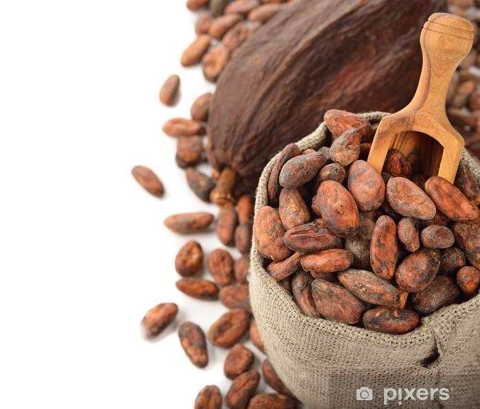 Naklejka Pixerstick Ziarna kakaowe w worku - Słodycze i desery