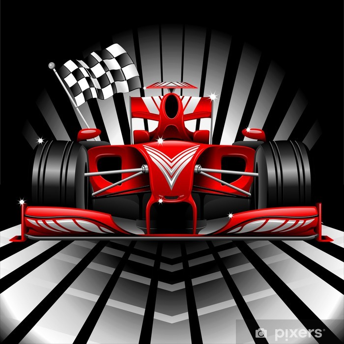 Vinil Duvar Resmi Formula 1 Red Race Car ve Chequered Bayrağı -