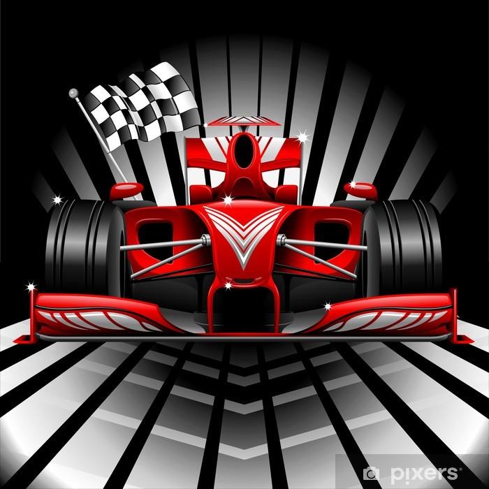Papier peint vinyle Formule 1 Voiture de course rouge et drapeau à damier - Thèmes