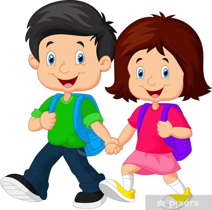 727fd06bd64 Sticker Jongen en meisje met rugzakken • Pixers® - We leven om te ...