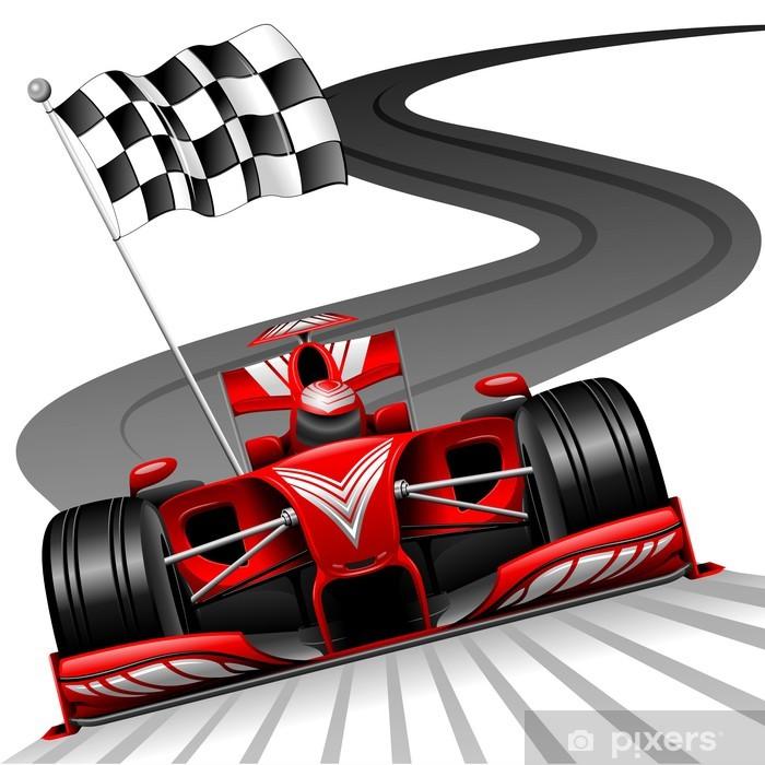 Plakat Formuła 1 czerwony samochód na tor wyścigowy - Naklejki na ścianę