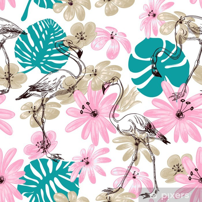 Sticker Pixerstick Flamingo et fleurs jardin exotique, seamless - Oiseaux