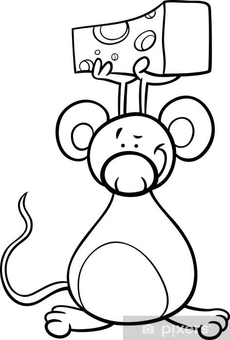 Adesivo Mouse Sveglio Con Il Formaggio Da Colorare Pixers
