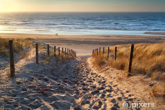 Vinyl Fotobehang Pad naar de zee bij zonsondergang - Nederland