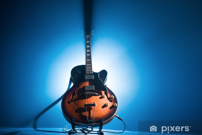 Pixerstick Sticker Elektrische gitaar op een blauwe achtergrond - Thema's