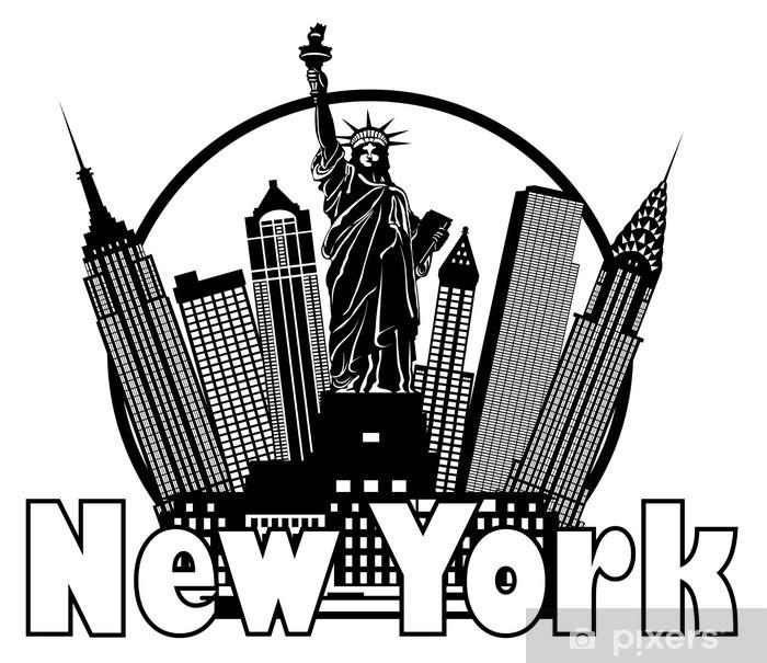 Fototapeta winylowa Panoramę Nowego Jorku w czerni i bieli krąg ilustracja - Naklejki na ścianę