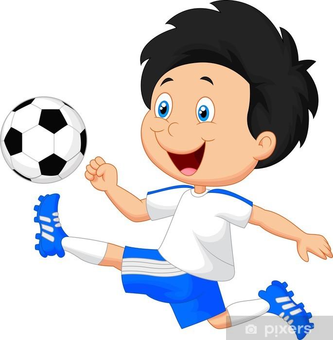 Fototapete Cartoon Jungen Spielen Fussball