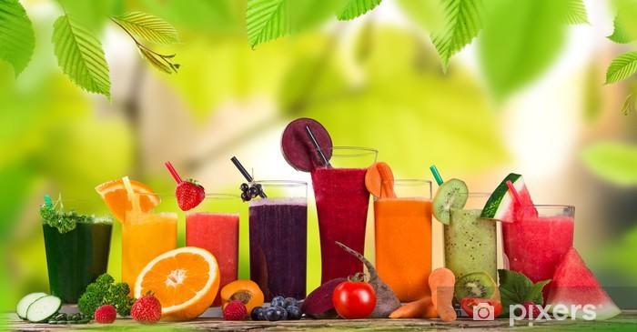 Naklejka Pixerstick Świeży sok z owoców, zdrowe napoje. - Posiłki