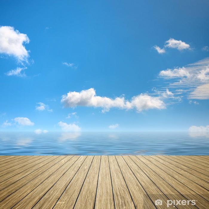 Naklejka Pixerstick Drewniane molo błękitne niebo - Woda
