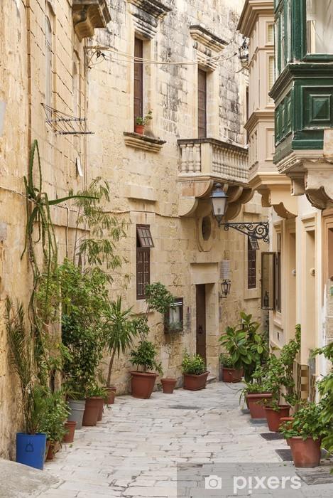 cobbled street in valetta old town malta Pixerstick Sticker - Themes