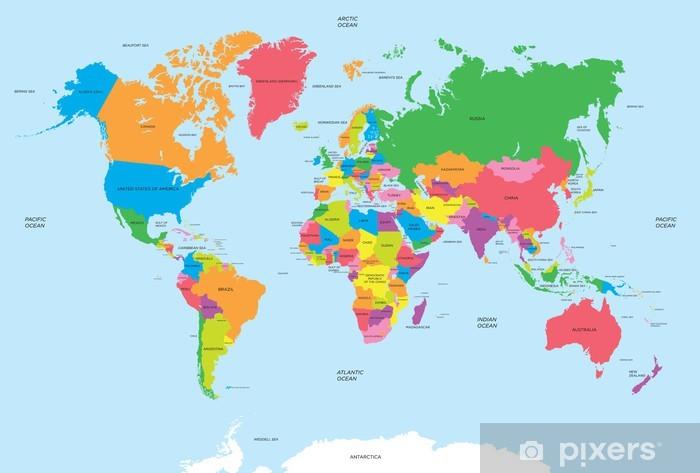 Maailman vektorin poliittinen kartta Vinyyli valokuvatapetti -