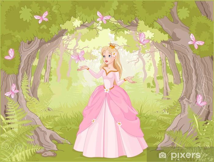 Fotomural Estándar Paseando princesa en el bosque fantástico - Medio ambiente