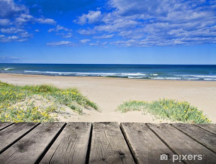 Sticker Pixerstick Paseo de Madera junto a la arena del Mar Azul - Vacances
