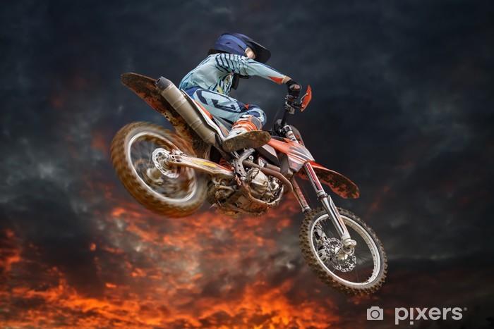 Vinyl Fotobehang Vliegende motorcrosser brand storm - Amusement