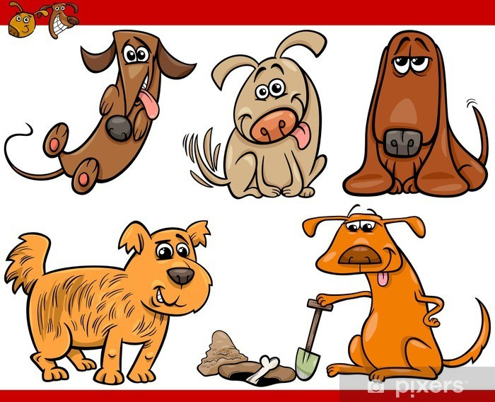 Happy Dogs Cartoon Illustration Set Wall Mural Pixers We Live To Change