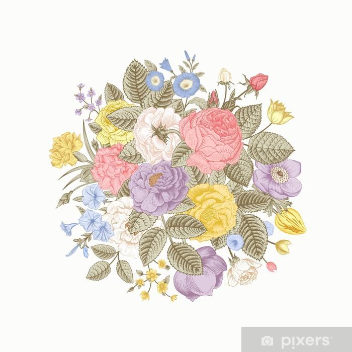 Bon Vintage Floral Vector Bouquet Vinyl Wall Mural   Styles
