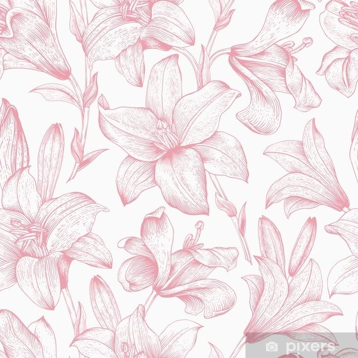 Pixerstick-klistremerke Sømløs vektor blomstermønster - Grafiske Ressurser