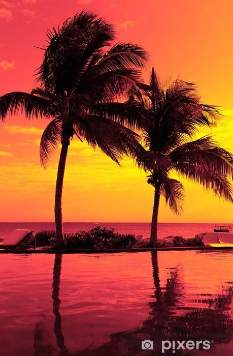 Naklejka Pixerstick Kokosowego drzewa sylwetka na plaży - Tematy