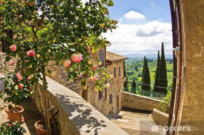 Fototapeta winylowa Róże na balkonie w San Gimignano, Toskania krajobraz w tle - Tematy