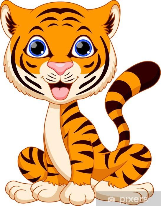 Aufkleber Netter Tiger Cartoon Pixerstick