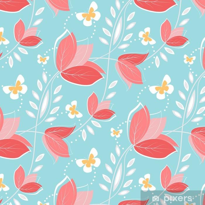 Carta da Parati in Vinile Seamless pattern con fiori d'epoca. - Sfondi